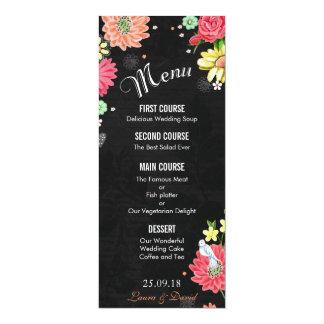 Bright Floral Chalkboard Wedding Menu Card