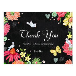 Bright Floral Chalkboard Wedding Thanks Postcard
