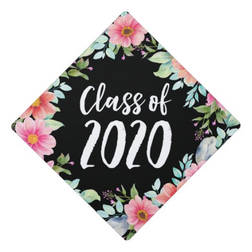 Bright Floral Class of 2020 Graduation Cap Topper