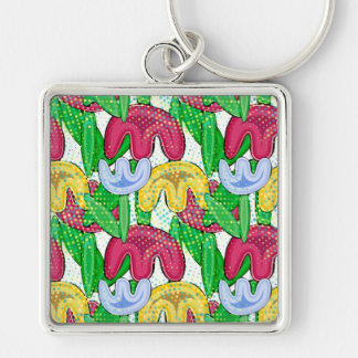 Bright floral doodle spring mood, girly gift idea keychain