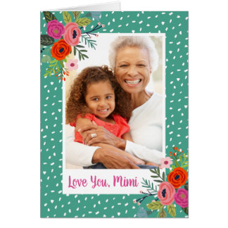 Bright Floral Mother's Day Photo Card for Grandma