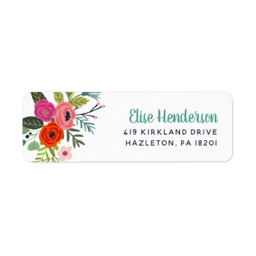 Wedding Themed Bright Floral Personalized Return Address Labels