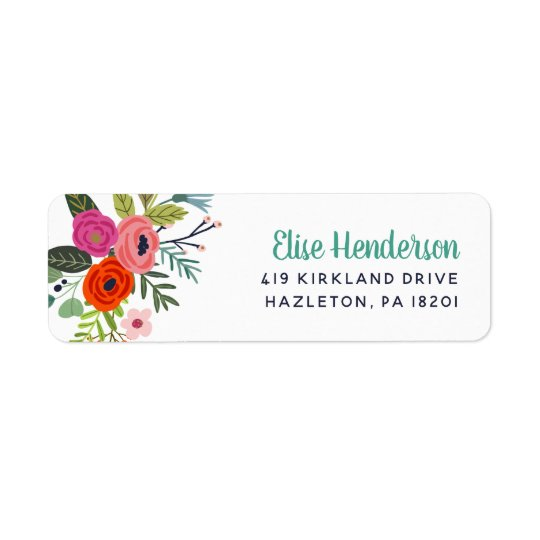 bright floral personalized return address labels zazzle com