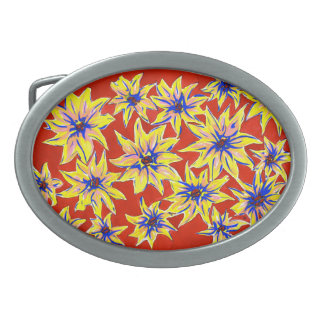 Bright Floral Pop Art Watercolour Belt Buckle
