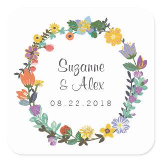 Bright Floral Spring Wedding Sticker