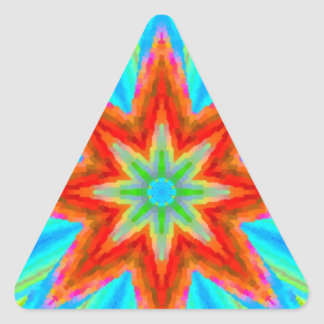 Bright Flower Digital Fractal Art Triangle Sticker