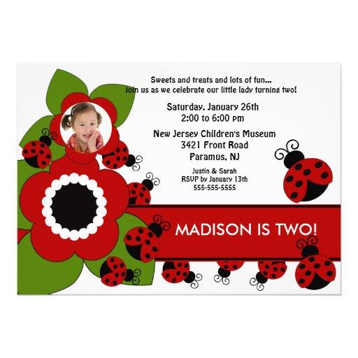 Bright flower & Ladybug Photo Birthday Invitation
