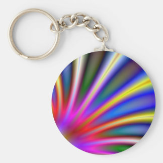 Bright flower like fractal abstract design basic round button keychain