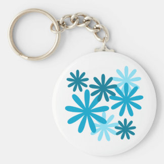 Bright Flower Pattern Basic Round Button Keychain