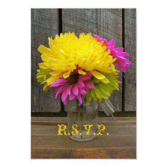 Bright Flowers & Barnwood Wedding RSVP Card