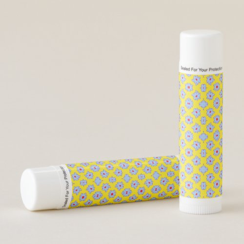 Bright Flowers Blue Red on Yellow Lip Balm