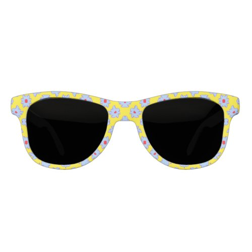 Bright Flowers Blue Red on Yellow Sunglasses