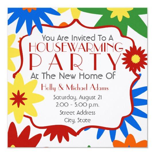 bright flowers housewarming party invitation  zazzle