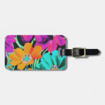 Bright Flowers on black Tag For Bags