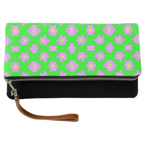 Bright Flowers Pink on Green Clutch