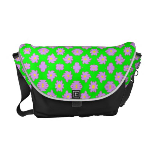 Bright Flowers Pink on Green Courier Bag