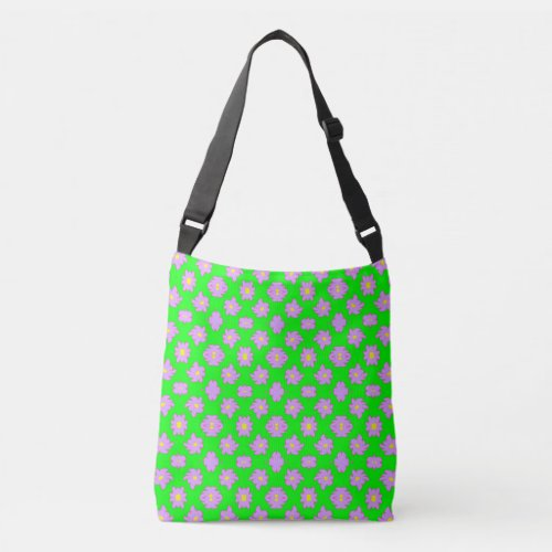 Bright Flowers Pink on Green Crossbody Bag
