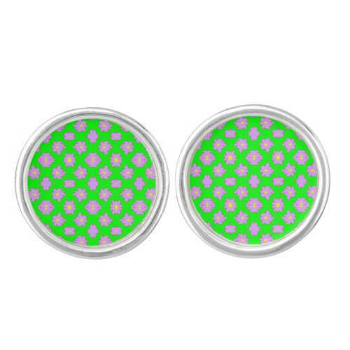 Bright Flowers Pink on Green Cufflinks