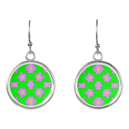 Bright Flowers Pink on Green Earrings
