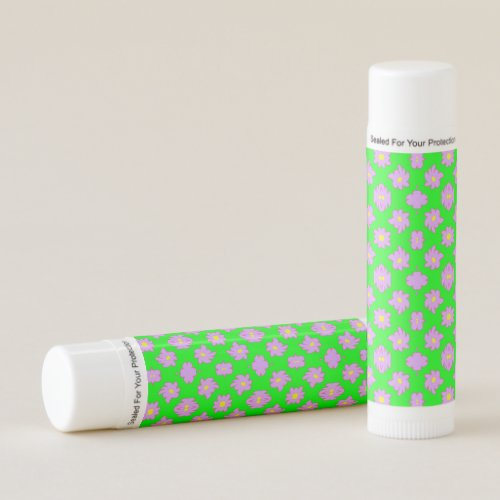 Bright Flowers Pink on Green Lip Balm