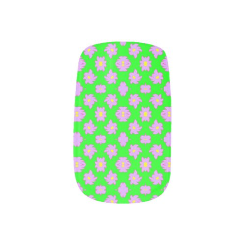 Bright Flowers Pink on Green Minx Nail Art