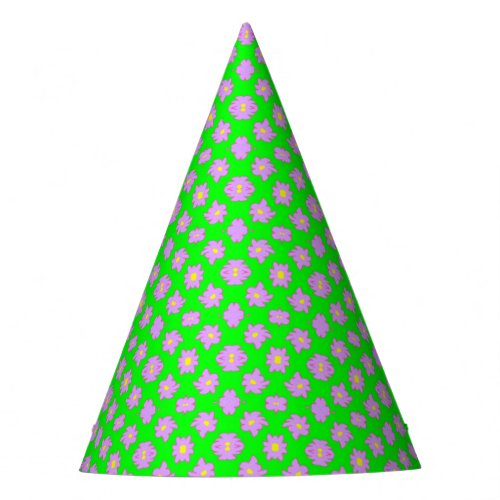 Bright Flowers Pink on Green Party Hat