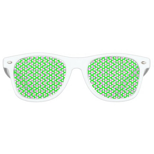 Bright Flowers Pink on Green Retro Sunglasses