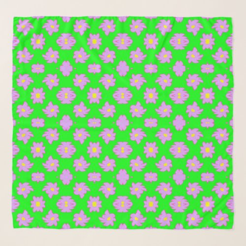 Bright Flowers Pink on Green Scarf