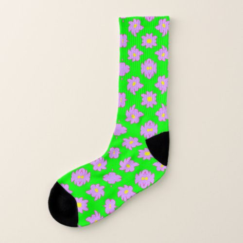Bright Flowers Pink on Green Socks