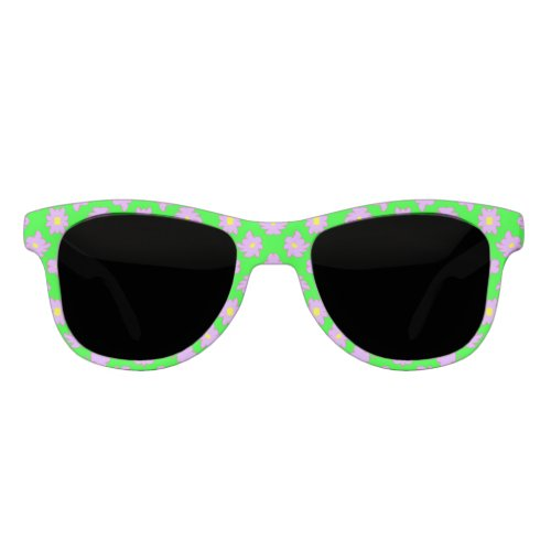 Bright Flowers Pink on Green Sunglasses