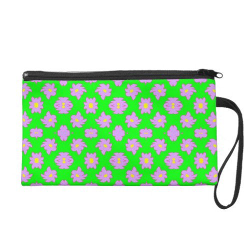 Bright Flowers Pink on Green Wristlet