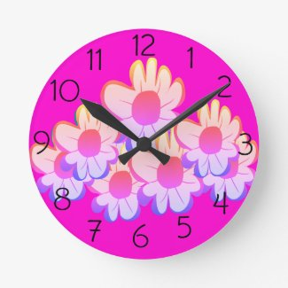 Bright Flowers Round Clock