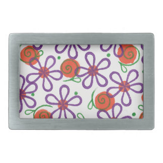 Bright Flowers with Fun Swirls and Dots Belt Buckle