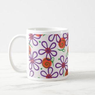 Bright Flowers with Fun Swirls and Dots Mug