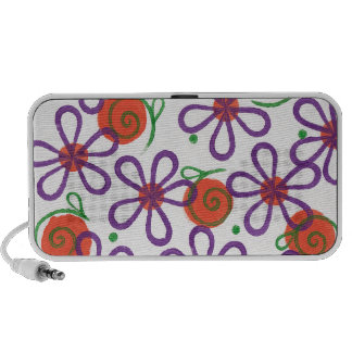 Bright Flowers with Fun Swirls and Dots Travelling Speaker