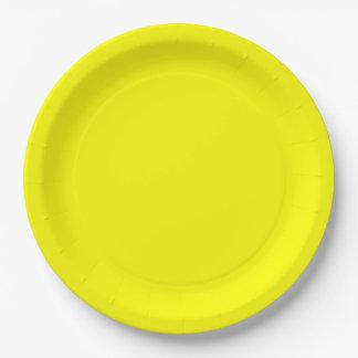 Bright Fluorescent Neon Yellow 9 Inch Paper Plate