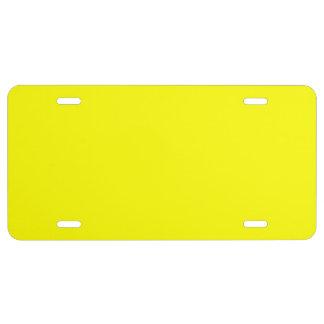 Bright Fluorescent Neon Yellow License Plate