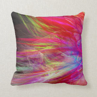Bright fractal abstract design throw pillows