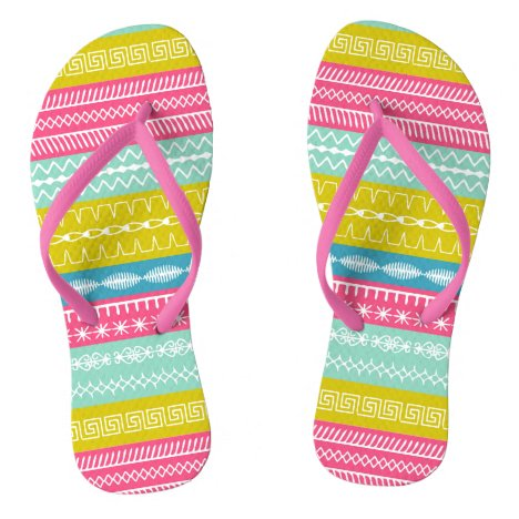 Bright, fresh and funky sewing stitches flip flops