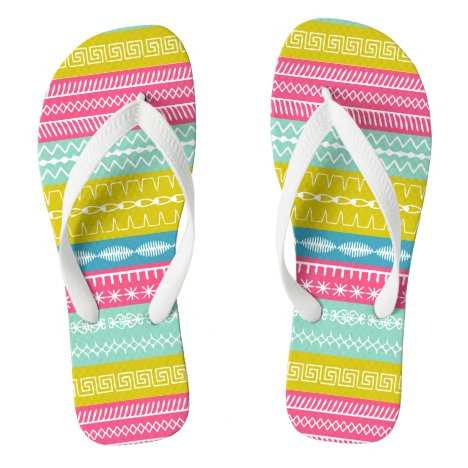 Bright fresh and funky sewing stitches white strap flip flops
