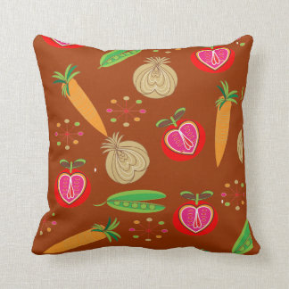 Bright Fresh Retro Fruit And Vegetables Pattern Pillows