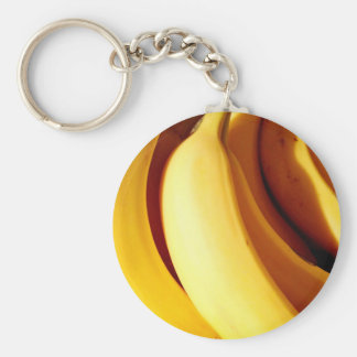 Bright fresh yellow bunch of ripe bananas keychain