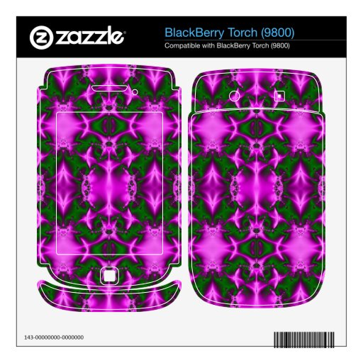 bright fuchsia pink green fractal abstract skin for BlackBerry