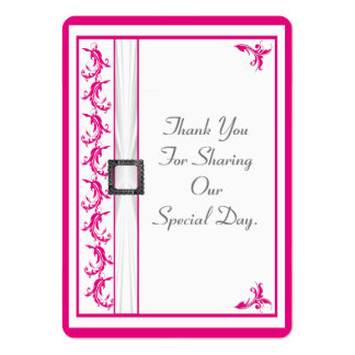 Bright fuchsia pink lace wedding thank you tag large business cards (Pack of 100)