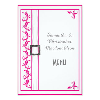 Bright fuchsia pink white lace wedding menu 5x7 paper invitation card