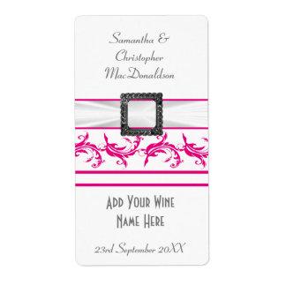 Bright fuchsia pink white wedding wine bottle label