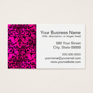 Bright Fucshia and Black Floral Damask Pattern Business Card