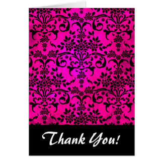 Bright Fucshia and Black Floral Damask Pattern Card