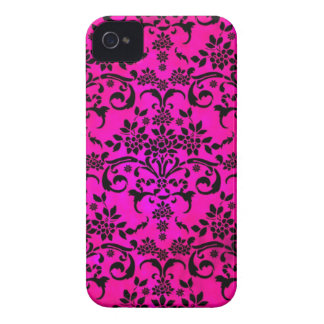 Bright Fucshia and Black Floral Damask Pattern iPhone 4 Cover