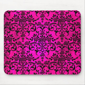 Bright Fucshia and Black Floral Damask Pattern Mouse Pad